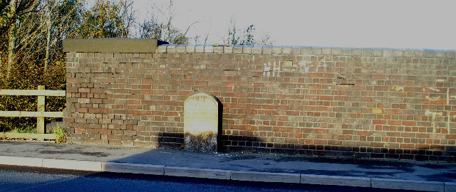 Boundary, Mile and Datum Stone, on old railway bridge, Warrington Road, Spring View