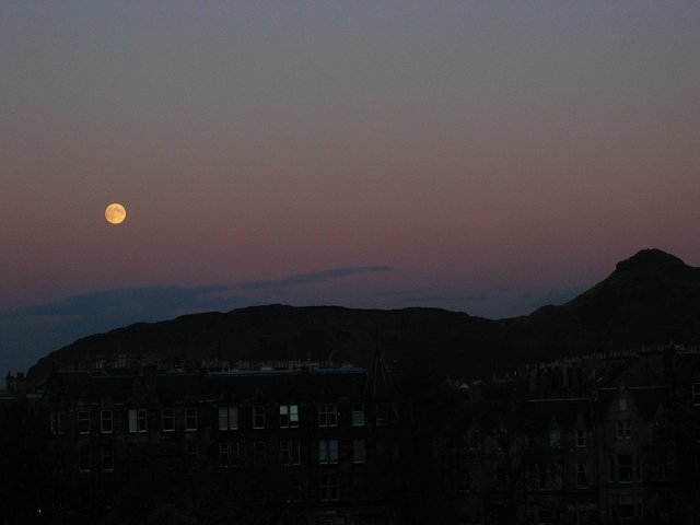 Moon over Salisbury Crags.