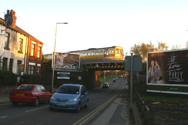 Southport-Wigan-Manchester railway bridge over Warrington Road, Lower Ince