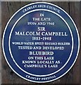 TQ2734 : Plaque Commemorating Malcolm Campbell, Tilgate Lake (Campbell's Lake), Tilgate Park, Crawley by Pete Chapman