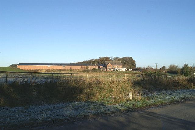 Farm, with large camper van, near Greenhalgh