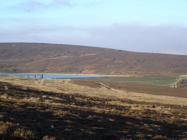 The retaining wall and Upper Barden Reservoir
