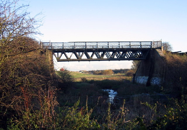 Old railway bridge over the River Don near Brockley Whins