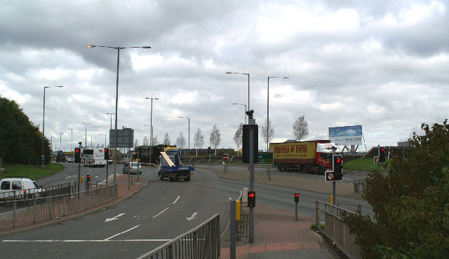 No go! Junction of the A562 and the A557, Runcorn-Widnes bridge approach