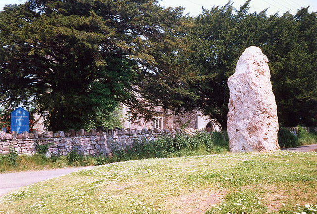 Portbury: standing stone by churchyard