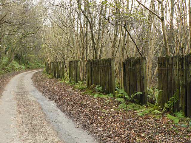 Road fenced with sleepers