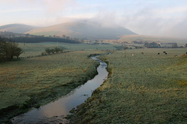 Garf Water looking upstream towards Dungavel Hill