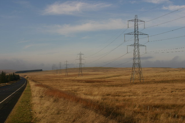 Pylons marching over Red Moss