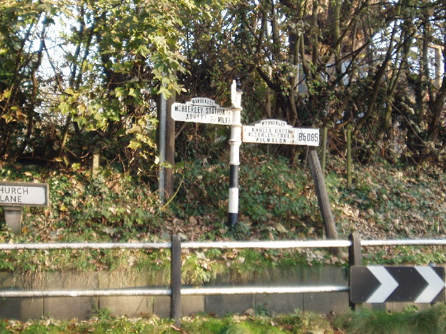 Old road sign at junction of Church Lane & Town Lane , Mobberley
