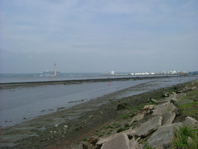 Mouth of River Carron with part of Grangemouth petrochemical complex