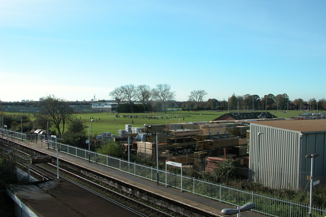 Hilsea Station, and playing fields.