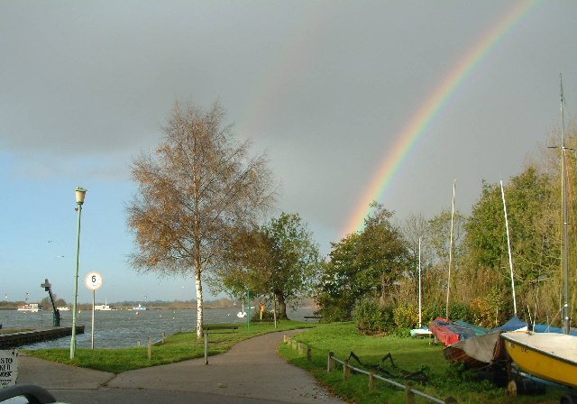 Rainbow on Oulton Broad seen from the Public Slipway