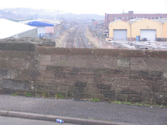 Bridge over railway into industrial area of Maryport.