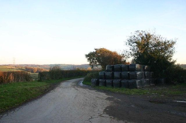 Silage  bales stored near Rawstone