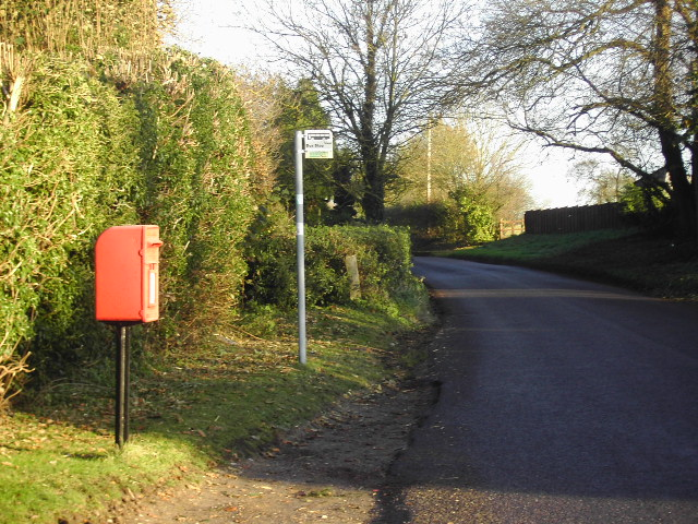 Bus stop and Letter box on the Old Burghclere road