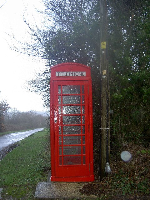 Telephone booth outside Hermitage village hall