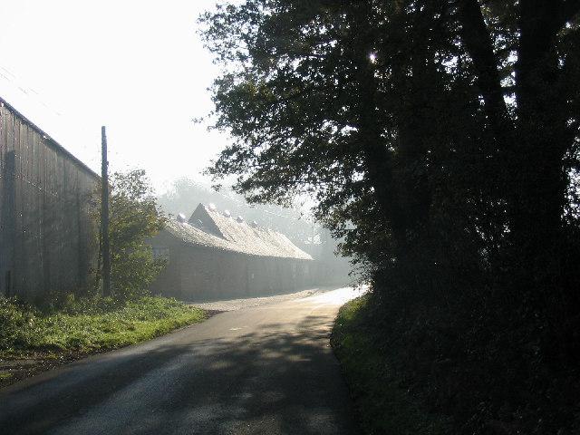 Frosty farm buildings, Great Warley