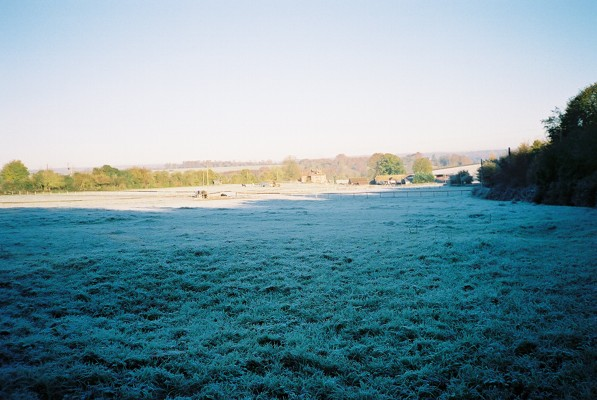 Farmland coated in frost, Cockpole Green