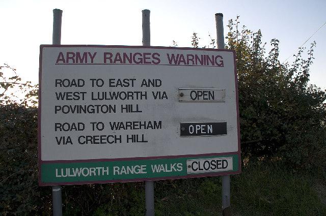 Army Ranges Sign near Church Knowle, Dorset