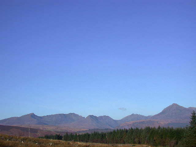 Arran Hills from forest track at NS0133