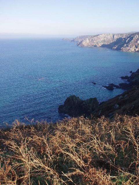 Looking beyond Wolf Rocks to Gurnards Head