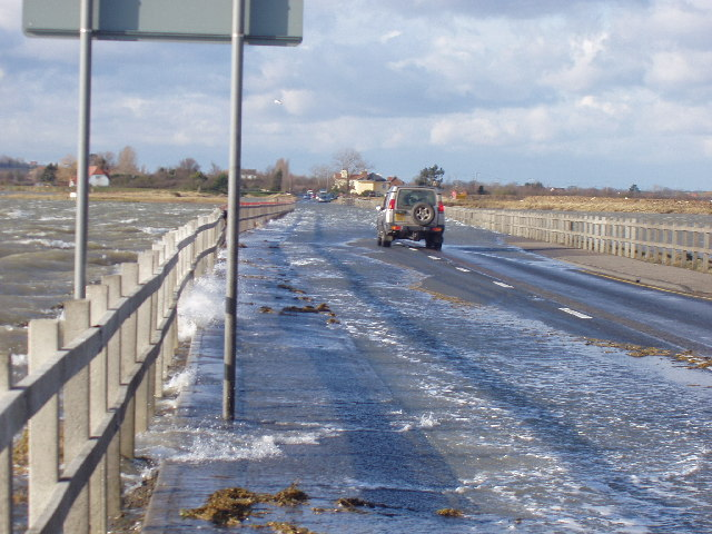 The Strood causeway flooded at spring tide