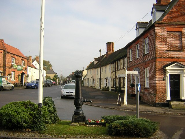 Village pump and main street, Hatfield Broad Oak.