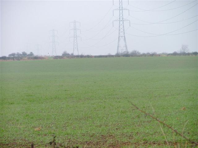 Pylons and Field, Near Cloff Bridge