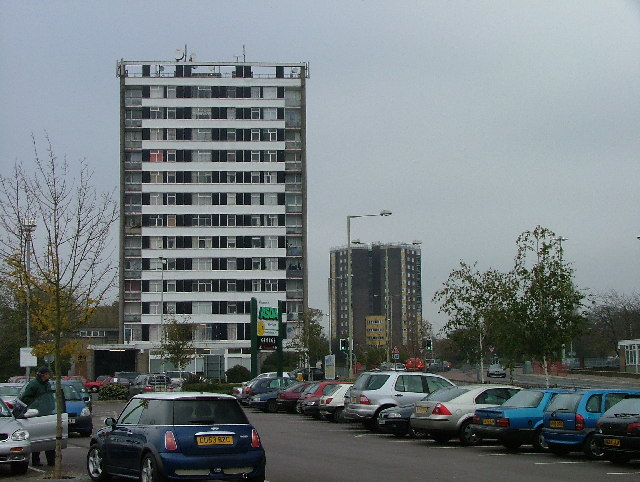 High rise housing in Hatfield town centre