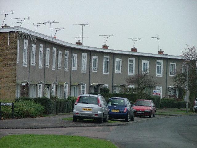 Modern terraced housing in Hatfield.