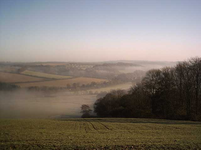 A misty Taw Valley from Trenchard Farm