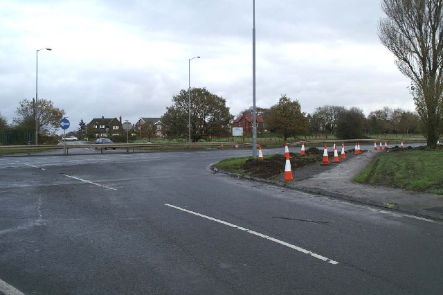 Junction of the East Lancs Road (A580) with Newton Lane