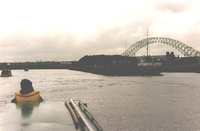 Antriades passing Runcorn Docks on the Ship Canal
