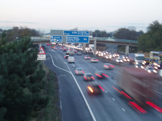M6 From Sudlow Lane Bridge Looking North