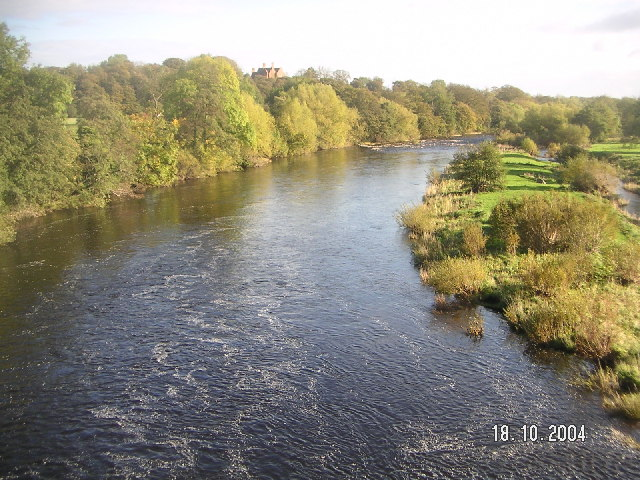 The River Tees looking east from the bridge at Piercebridge