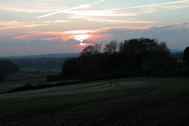 Sunset over Warren Down.