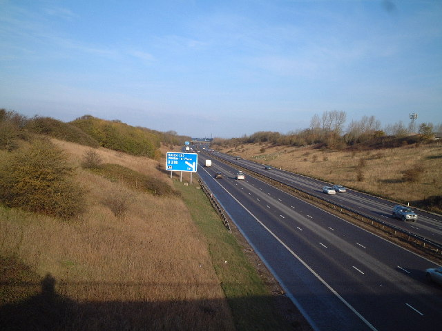 M5 junction sign for Weston Super Mare, junction 21