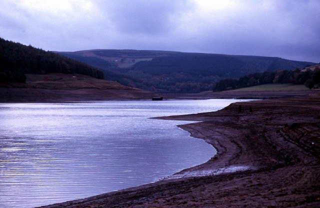 Ladybower reservoir during the drought of 1989
