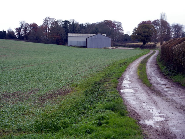 Farm track and buildings at Folly Farm
