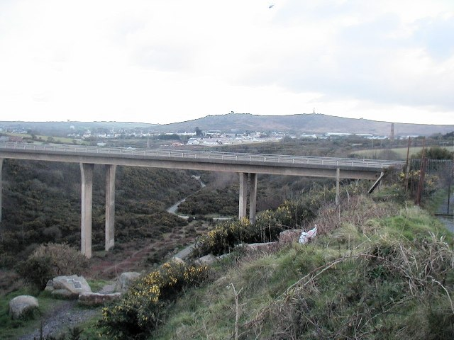 The A30 road crosses the stream near West Tolgus