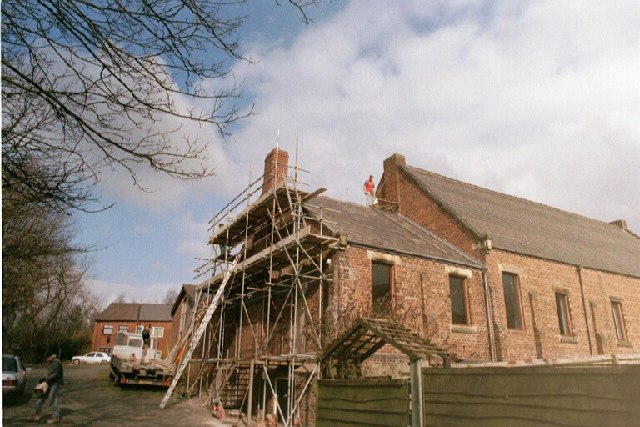 Scaffolding on St. Mary's outside West wall