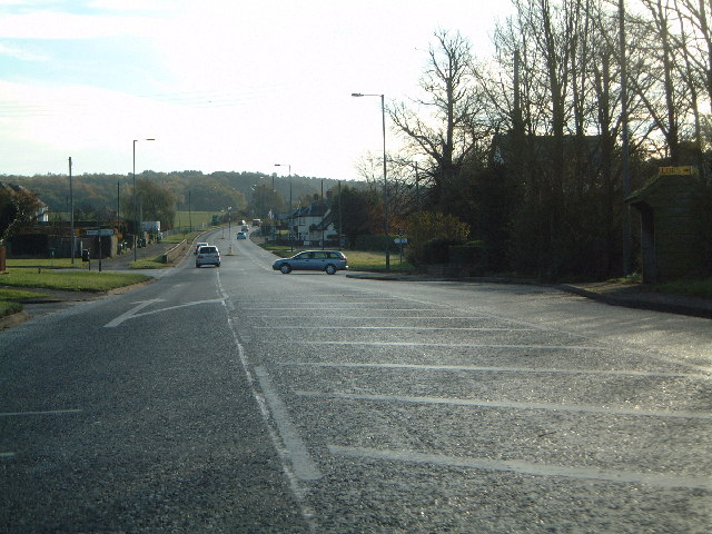 Junction of A34 and Sawpit Lane