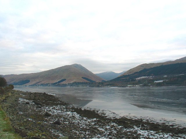 Loch Fyne looking towards Cairndow and Glen Kinglas in the background.