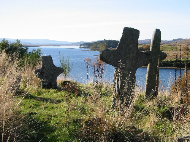 Ancient crosses on Eilean Fhianain, Loch Shiel