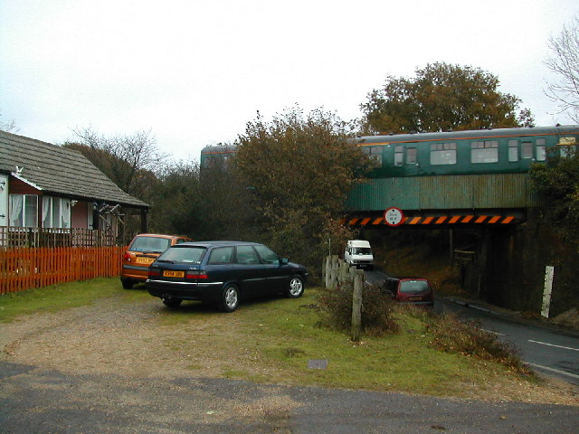 The B3055 passing beneath the Lymington branch line