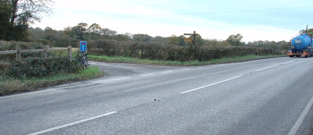 Junction of A272 and no-through-road to Coombe House, West Sussex