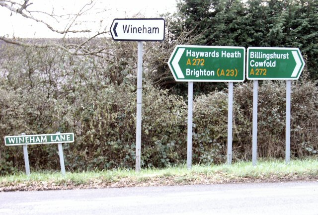 Signposts at A272, Spronkett's Lane junction.