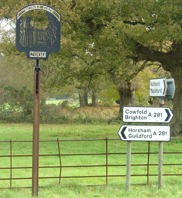 Signs at Junction of A281 and Nuthurst Road, Monks Gate, West Sussex.