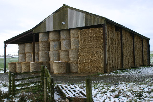 Bales in barn at Upper Pitglassie