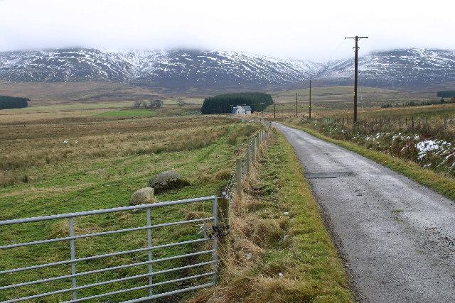Looking towards Burnside with Cromdale hills behind